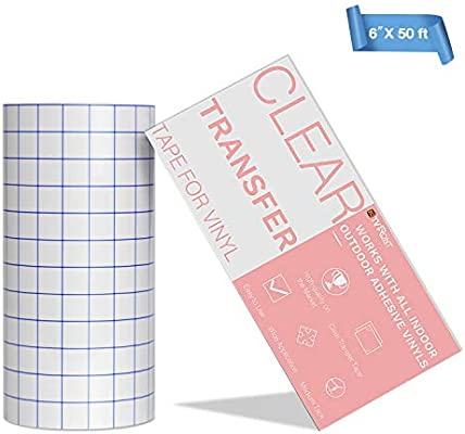 "Transfer Paper Tape Roll w// Grid Self Adhesive Vinyl for Walls Signs 6/"" by 50/"""