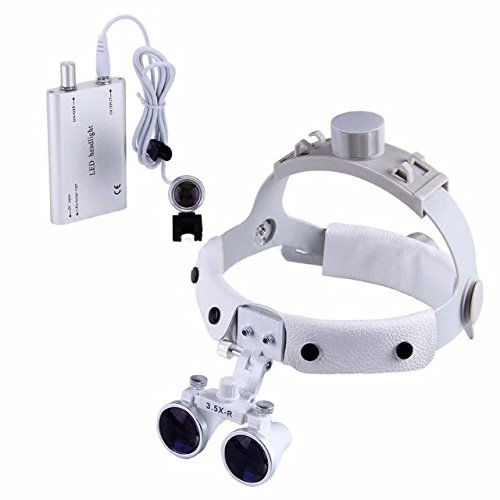 3.5X-R 280-380mm Dental Surgical Medical Binocular Headband Loupes DY-108 White with Portable 1W LED Headlight Silver by Purple-Violet