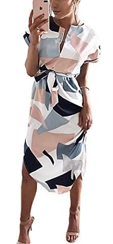 Kbook Women's V-Neck Short Sleeve Geometric Pattern Print Casual Slim Dress with Belt (Dresses With Geometric Pattern)