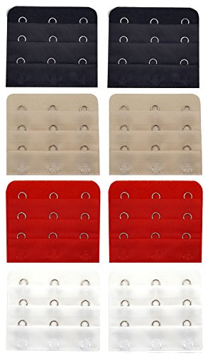 8pcs Women's Lady Bra Extender 3 Hooks Lingerie Extension Strap Soft Flexible Comfortable Adjustable Underwear Back Strapless Buckle [2 Black+2 White+2 Red+2 Skin Colour] [Nylon / Lycra]
