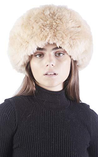 Raymis Womens Winter Hat Knitted 100% Baby Alpaca Real Fur Hat (Beige)