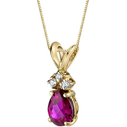 14 Karat Yellow Gold Pear Shape 1.00 Carats Created Ruby Diamond Pendant