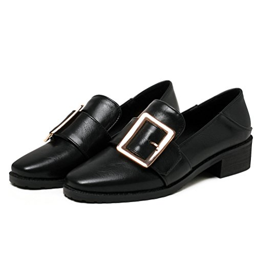 Platform Ladies on AIWEIYi Heel Shoes Black Dress Casual Med Slip Shoes Square F0qxw7UO