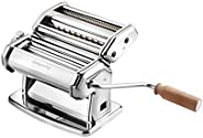 Imperia Pasta Maker Machine - Heavy Duty Steel Construction w Easy Lock Dial and Wood Grip Handle- Model 150 M