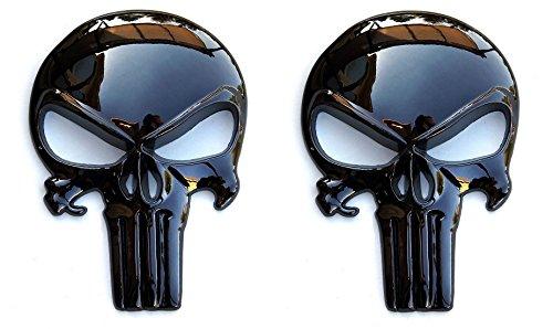 Premium Black 3D Metal Decal / Sticker (2 pack) - Tactical Skull for Gun Magazine, Car, Truck, Motorcycle, etc