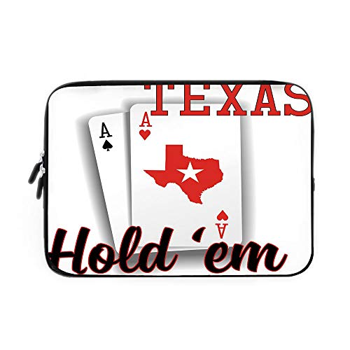 - Poker Tournament Decorations Laptop Sleeve Bag,Neoprene Sleeve Case/Texas Holdem Theme Pair of Aces with Map Winning Hand Decorative/for Apple MacBook Air Samsung Google Acer HP DELL Lenovo A