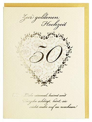Tarjeta de felicitación para bodas de oro Crema Oro con texto en ...