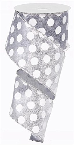 Ribbon Wired Metallic (Metallic Polka Dot Wired Edge Ribbon - 2.5