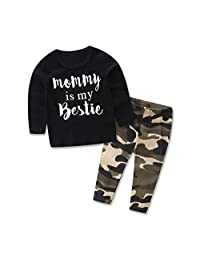 FlankToddler Kid Baby Boy Set Clothes Letter Print Tops +Camouflage Pants Outfits Set (90)