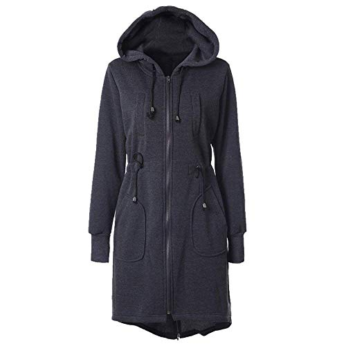 Bolawoo Lunga Jacket Con Casual Elegante Marca Outdoor Anteriori Mode Donna Monocromo Mantello Accogliente Manica Di Tasche Grau Cappotti Giubotto Cerniera Cappuccio Invernali Coulisse PqArPw