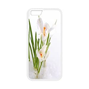 IPhone 6 Case White Crocus in the Snow for Girls Protective, Iphone 6 Case 4.7 for Girls Protective [White]