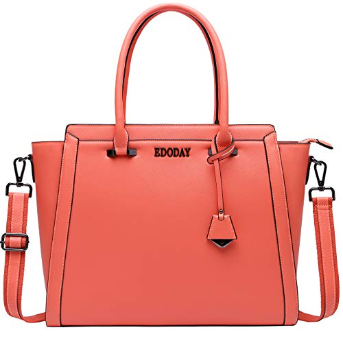 Laptop Bag for Women,13,14,15.6 Multi Pocket Laptop Briefcase Work Tote Bag with Durble Cossbody Shoulder Strap,Coral -