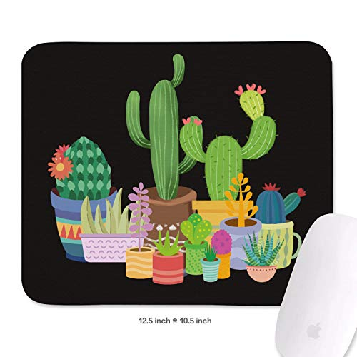 Art Deco Plant Cactus Green Non-Slip Rubber Mousepad Gaming Mouse Pad for Mac Comfortable Fashion Printing Mouse Pads
