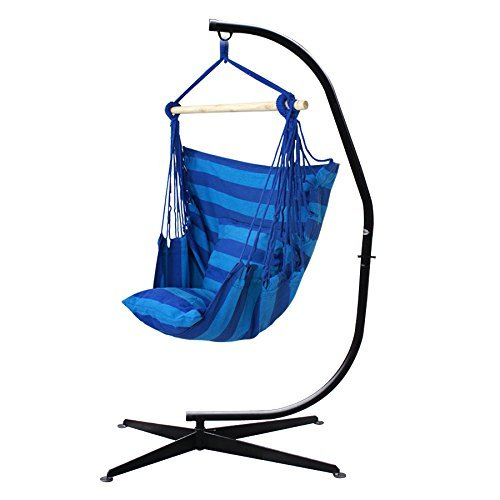 ZENY C Hammock Stand Steel Construction W/Air Porch Swing Hanging Chair Hammock for Indoor or Outdoor Spaces- Max. 265 Lbs -2 Seat Cushions Included (Hammock + Stand) by ZENY