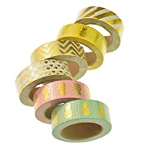 6 Rolls Colorful Washi Tapes, Marrywindix Washi Mask Tape Collection Craft Tape Scrapbooking Tape Perfect for Scrapbooking, DIY Crafts and Gift Wrapping