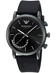Emporio Armani Mens Quartz Stainless Steel and Rubber Smart Watch, Color:Black (Model: ART3016)