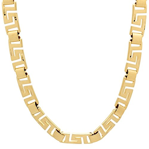 8mm 14k Gold Plated Greek Key Chain Necklace, 20