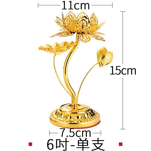 High-Footed Lotus Candlestick Alloy Lotus Butter Lamp Holder for Buddha Candlestick Lamp Holder in Front of Buddha, Clear