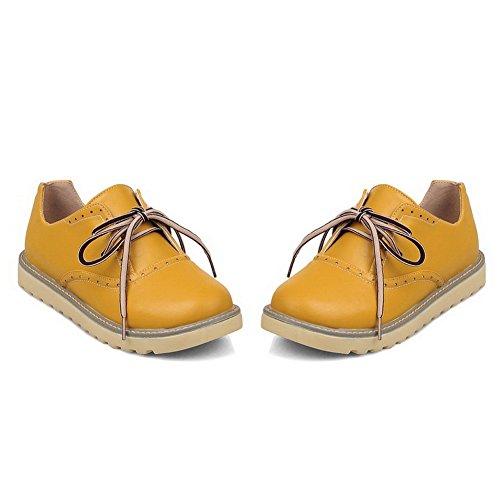 Balamasa Kvinna Bandage Plattform Fasta Imiterade Läder Pumpar-skor Gul
