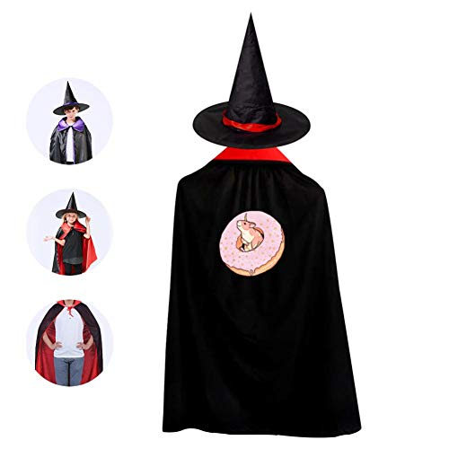 Sweet Fantasy Unicorn Hamster Halloween Costumes Witch Wizard Cloak With Hat For Christmas Cosplay Boys Girls Red ()