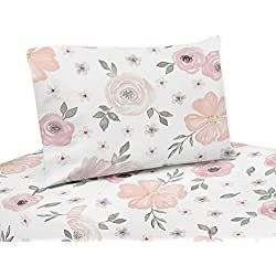 Sweet Jojo Designs 3-Piece Blush Pink, Grey and White Twin Sheet Set for Watercolor Floral Collection set