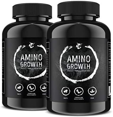 [Gesponsert]AMINO GROWTH 150-450 Tabletten (Vegan) | Hochdosiert mit 5000 mg/Portion | Aminosäuren Komplex mit Maca & Vitamin...