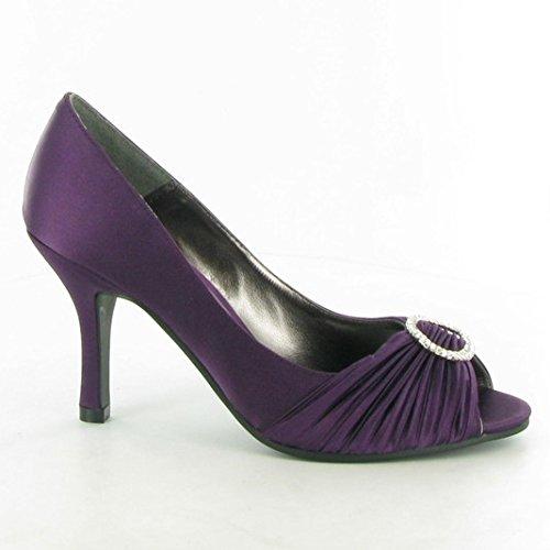 Lunar FLV132 Peep-Toe Chaussures à talons avec strass Violet