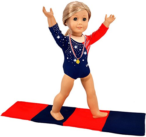 ebuddy 3pcs Diamond Crystal Leotard Doll Clothes for American Girl Dolls - Includes Gymnastics Outfit, Mat Set, Gold Metal (Patriotic Design for Summer Olympics)