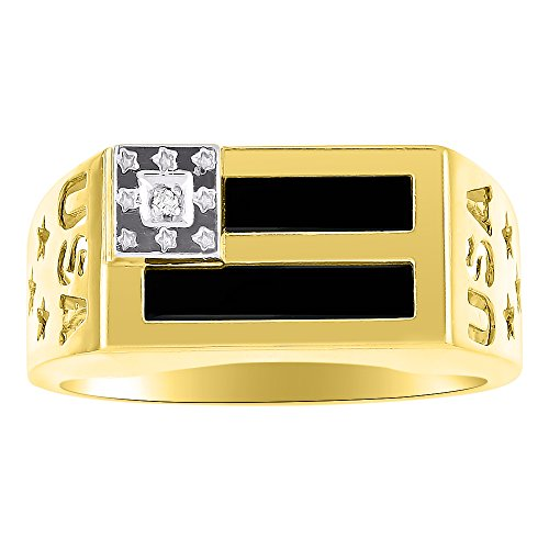 Diamond & Black Onyx Quartz Ring Sterling Silver or Yellow Gold Plated Silver Patriotic USA