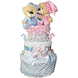Gender Reveal Diaper Cake - Baby Shower Centerpiece - Newborn Gift