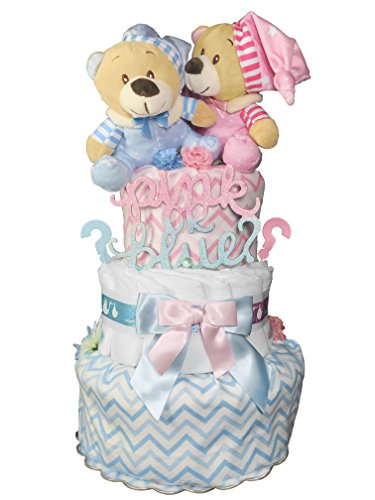 (Gender Reveal Teddy Bear Diaper Cake - Baby Shower Gift -)