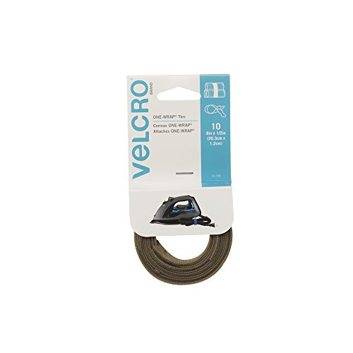 "VELCRO Brand - ONE-WRAP For Cables, Wires & Cords - 8"" x 1/2"" Ties, 10 Ct. - Tan"