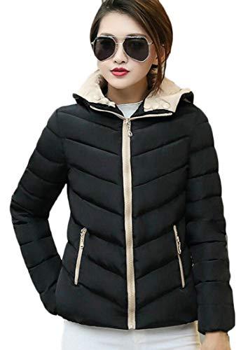 Women's Black Parka Coat Down Hooded EKU Puffer Warm Quilted Jacket Winter dPvxaqR