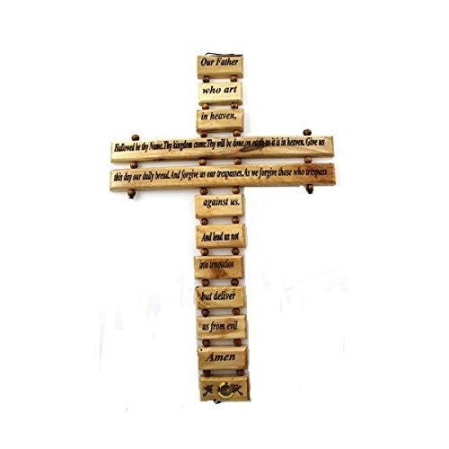 Olive Wood Lord's Prayer Cross (9'')