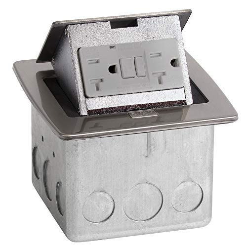 (Lew Electric PUFP-CT-SS Countertop Box, Pop Up w/20A GFI Receptacle - Stainless Steel)