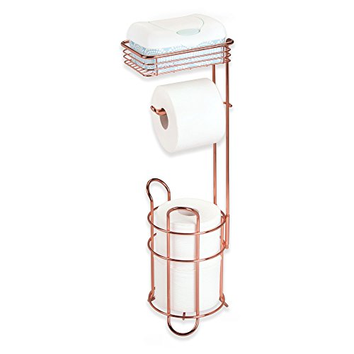 mDesign Toilet Paper Dispenser and Reserve with Storage Shelf for Bathroom Storage - Rose Gold