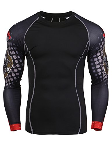 JINIDU Mens Quick Dry Compression Shirt Base Layer Underlayer Top Workout Athletic Gym Long Sleeve T-Shirt
