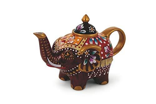 Villa d'Este Home Tivoli 2190995 Patchwork Teapot Elephant, Brown, Porcelain