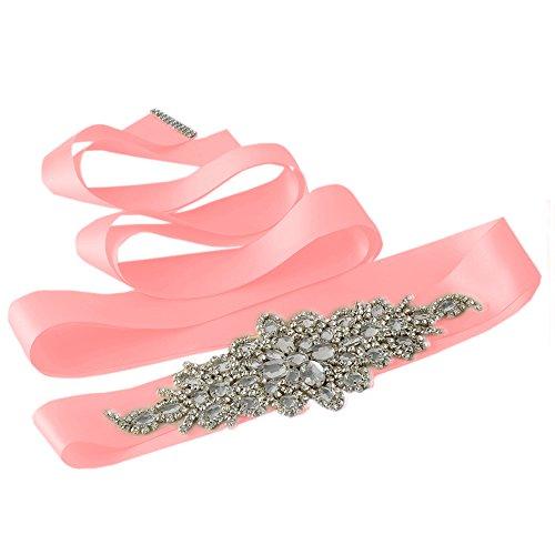 Azaleas Women's Vintage Rhinestone Crystal Bridal Wedding Sash Belt Wedding Belt Sashes for Wedding Dress (Pink) (Crystal Belt Pink)