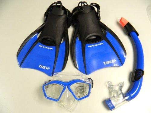 Adult U.s. Divers Snorkel,mask,fins Size Mens 7-10 & Womens 8-11 Bag Set Blue