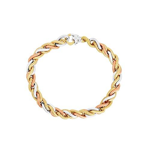 Bracelet Rope Fancy (Finejewelers 14 Kt Two Tone Gold 7.75 Inch 7mm Textured Twisted Rope Fancy Bracelet Fancy Lobster Clasp)