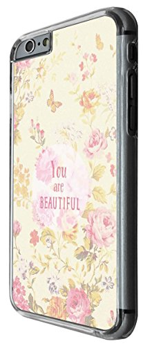 1179 - Floral Shabby Chic Roses Fleurs You are Beautiful Design For iphone 6 Plus / iphone 6 Plus S 5.5'' Fashion Trend CASE Back COVER Plastic&Thin Metal -Clear