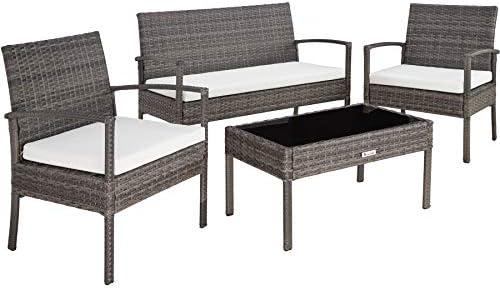TecTake 403398 Conjunto Muebles de Jardín, Poliratán Sintético, Set de 4 Plazas, 2 sillones 1 Mesa 1 Banco, Gris, Jardín Exterior Patio: Amazon.es: Jardín