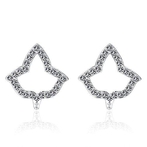 Lanqueen AKA Sorority Gifts for Women,Silver Crystal Stud Earrings Dangle, Alpha Kappa Alpha Paraphernalia Graduation Jewelry
