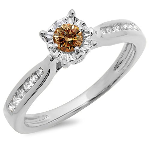 White Gold Champagne & White Diamond Bridal Solitaire With Accents Ring (Size 9) (Champagne Diamond Solitaire)