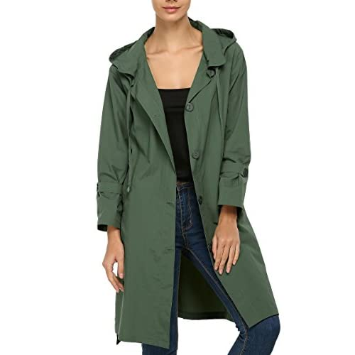 Dickin Women Waterproof Turn Down Collar Hooded Rain Jacket Front Button Rain Trench Coat for sale