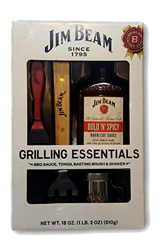Jim Beam: Grilling Essentials - Bold & Spicy BBQ Sauce, Tongs, Basting Brush & Shaker (Jim Beam Sauce Barbecue)