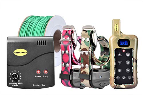 GROOVYPETS Remote Two Dog Hunting Training Shock Collar & Underground/in-Ground Electric/Electronic Containment Invisible Boundary Fence System Combo for Medium and Large Dog