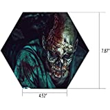 iPrint Hexagon Wall Sticker,Mural Decal,Zombie Decor,Man Shot in The Head with Bloody Details Fearful Monster Vampire Fantasy Print,Multicolor,for Home Decor 4.52x7.87 10 Pcs/Set