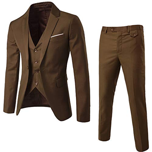 WULFUL Men's Suit Slim Fit One Button 3-Piece Suit Blazer Dress Business Wedding Party Jacket Vest & Pants (Brown, ()